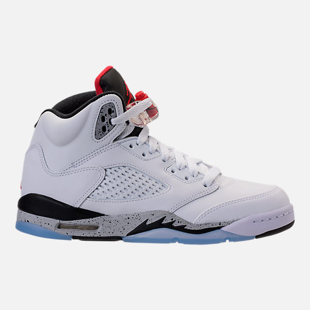 Right view of Kids' Grade School Air Jordan Retro 5 Basketball Shoes in White/University Red/Black/Silver