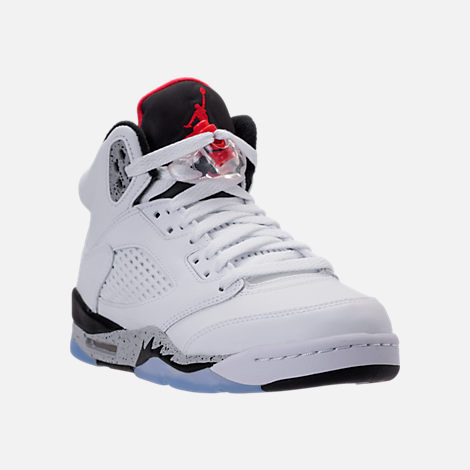 Three Quarter view of Kids' Grade School Air Jordan Retro 5 Basketball Shoes in White/University Red/Black/Silver