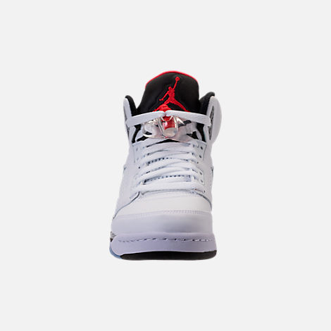 Front view of Kids' Grade School Air Jordan Retro 5 Basketball Shoes in  White/