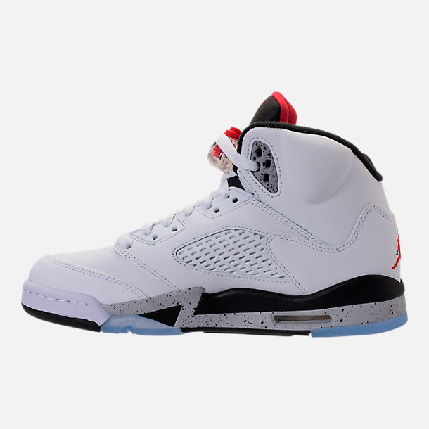 Left view of Kids' Grade School Air Jordan Retro 5 Basketball Shoes in White/University Red/Black/Silver