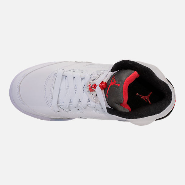 Top view of Kids' Grade School Air Jordan Retro 5 Basketball Shoes in White/University Red/Black/Silver