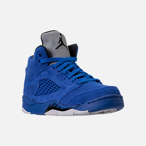 Three Quarter view of Boys' Preschool Air Jordan Retro 5 Basketball Shoes