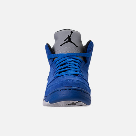 Front view of Boys' Preschool Air Jordan Retro 5 Basketball Shoes