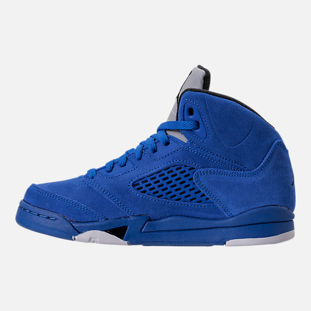 Left view of Boys' Preschool Air Jordan Retro 5 Basketball Shoes