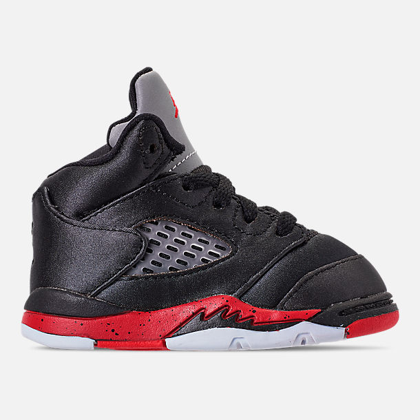 Right view of Kids' Toddler Air Jordan Retro 5 Basketball Shoes in Black/University Red