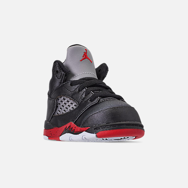 86686f25f45e12 Three Quarter view of Kids  Toddler Air Jordan Retro 5 Basketball Shoes in  Black