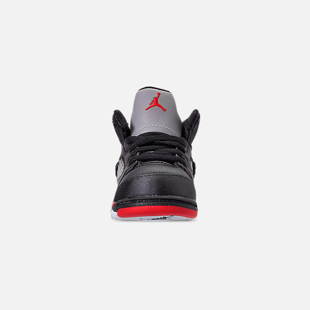 Front view of Kids' Toddler Air Jordan Retro 5 Basketball Shoes in Black/University Red