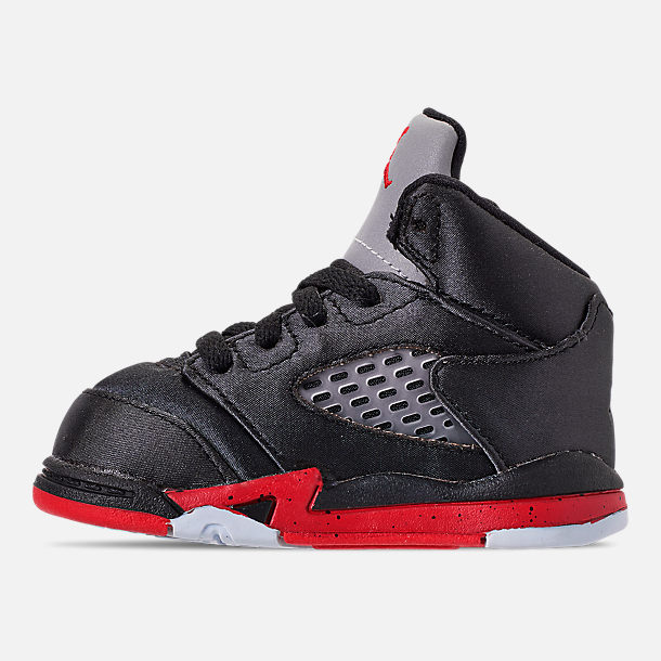 Left view of Kids' Toddler Air Jordan Retro 5 Basketball Shoes in Black/University Red