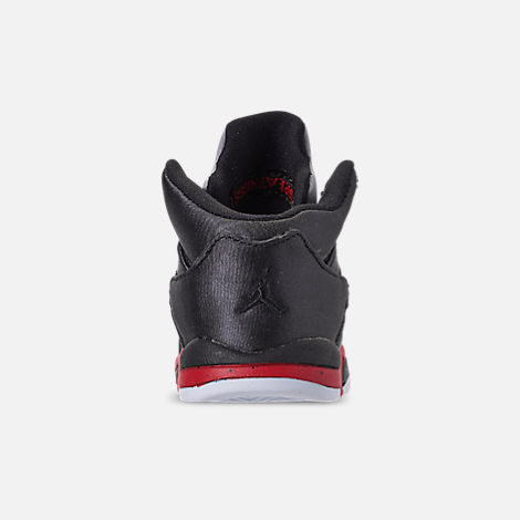 Back view of Kids' Toddler Air Jordan Retro 5 Basketball Shoes in Black/University Red