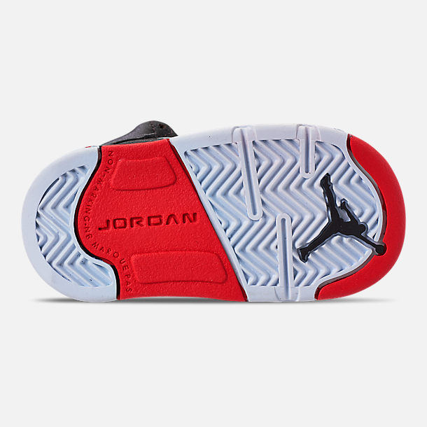 Bottom view of Kids' Toddler Air Jordan Retro 5 Basketball Shoes in Black/University Red
