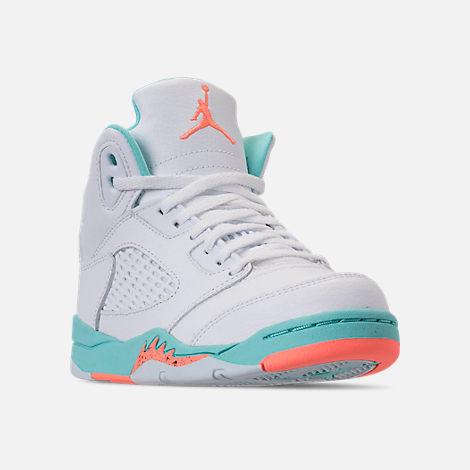 c2ac55b3953 Three Quarter view of Little Kids' Jordan Retro 5 Basketball Shoes in  White/Crimson