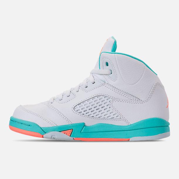 88e2ea6ef11 Left view of Little Kids' Jordan Retro 5 Basketball Shoes in White/Crimson  Pulse
