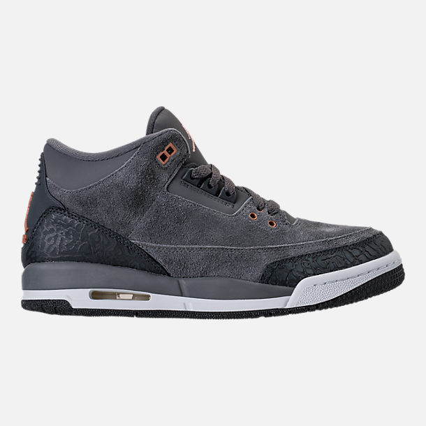 Right view of Kids' Grade School Air Jordan Retro 3 (3.5y - 9.5y) Basketball Shoes in Anthracite/Metallic Red Bronze/White