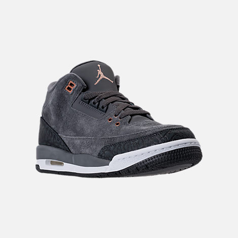 Three Quarter view of Kids' Grade School Air Jordan Retro 3 (3.5y - 9.5y) Basketball Shoes in Anthracite/Metallic Red Bronze/White