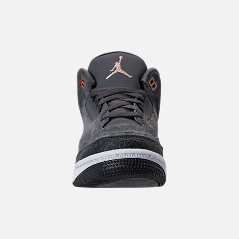 Front view of Kids' Grade School Air Jordan Retro 3 (3.5y - 9.5y) Basketball Shoes in Anthracite/Metallic Red Bronze/White