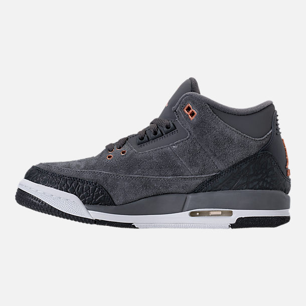 Left view of Kids' Grade School Air Jordan Retro 3 (3.5y - 9.5y) Basketball Shoes in Anthracite/Metallic Red Bronze/White