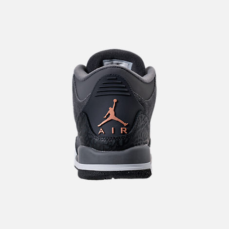 Back view of Kids' Grade School Air Jordan Retro 3 (3.5y - 9.5y) Basketball Shoes in Anthracite/Metallic Red Bronze/White