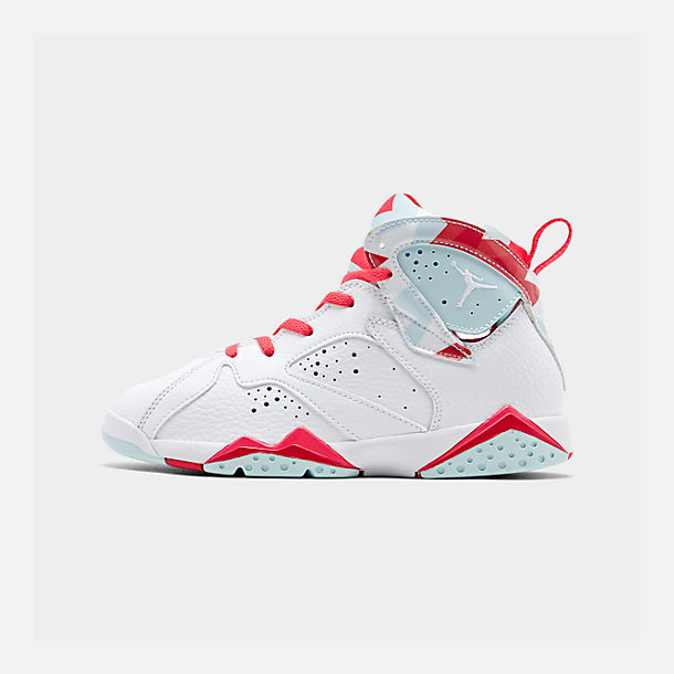 Right view of Girls' Little Kids' Jordan Retro 7 Basketball Shoes in White/White/Topaz Mist/Ember Glow