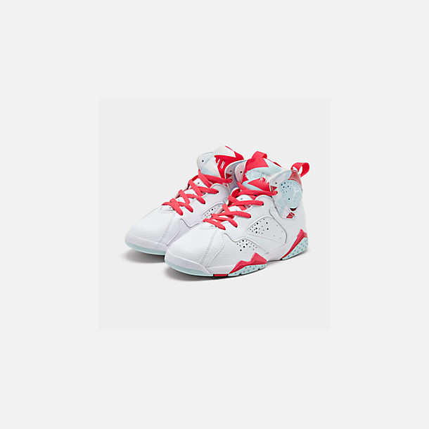 Three Quarter view of Girls' Little Kids' Jordan Retro 7 Basketball Shoes in White/White/Topaz Mist/Ember Glow