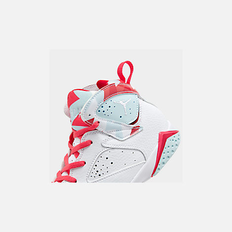 Front view of Girls' Little Kids' Jordan Retro 7 Basketball Shoes in White/White/Topaz Mist/Ember Glow