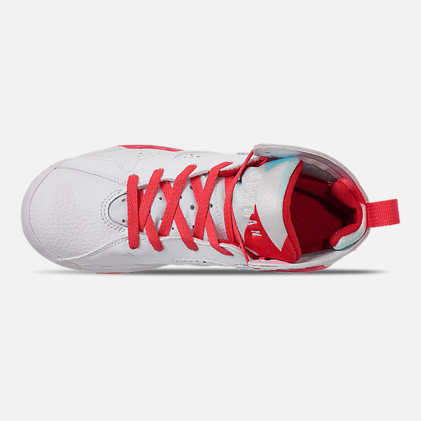 Top view of Girls' Little Kids' Jordan Retro 7 Basketball Shoes in White/White/Topaz Mist/Ember Glow