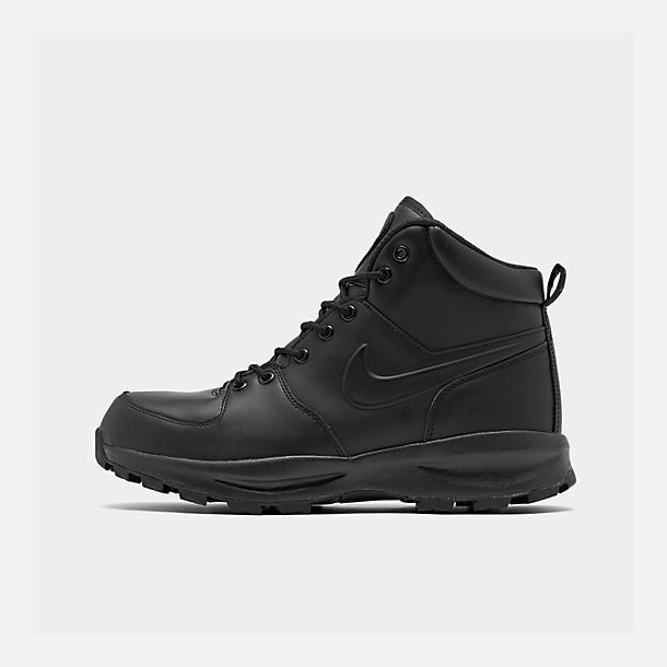 Right view of Men s Nike Manoa Leather Boots in Black Black Black 969f99991e