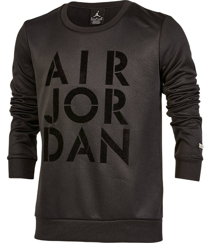 Front view of Girls' Jordan Jazzy Jumpman Satin Crewneck Sweatshirt in Black