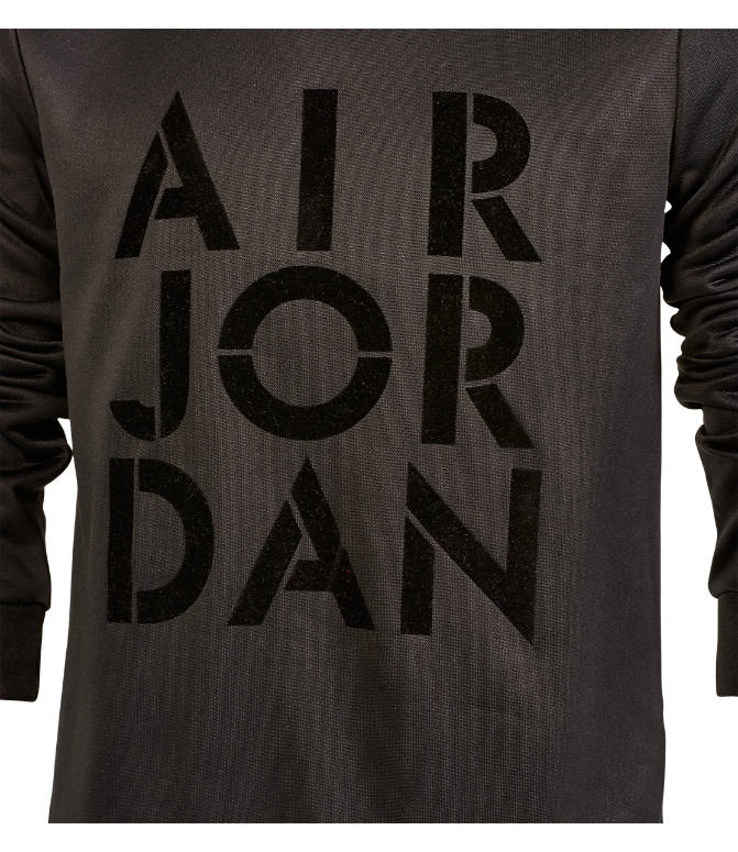 Back view of Girls' Jordan Jazzy Jumpman Satin Crewneck Sweatshirt in Black