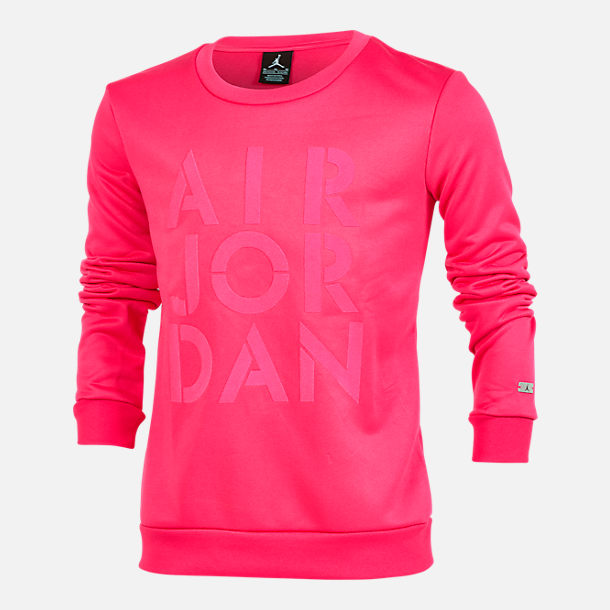 Front view of Girls' Jordan Jazzy Jumpman Satin Crewneck Sweatshirt in Pink