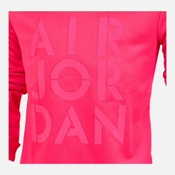 Back view of Girls' Jordan Jazzy Jumpman Satin Crewneck Sweatshirt in Pink