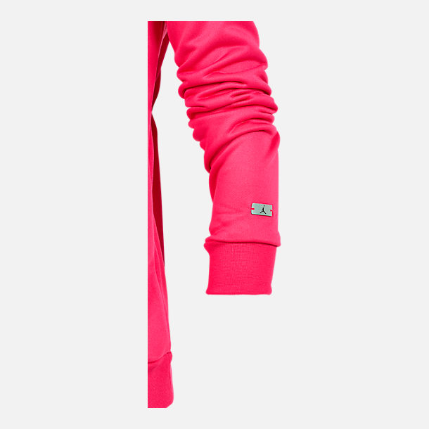 Alternate view of Girls' Jordan Jazzy Jumpman Satin Crewneck Sweatshirt in Pink