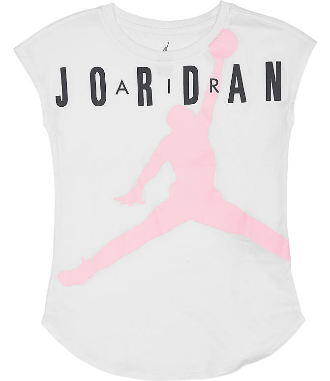Front view of Girls' Jordan Air T-Shirt in White/Pink