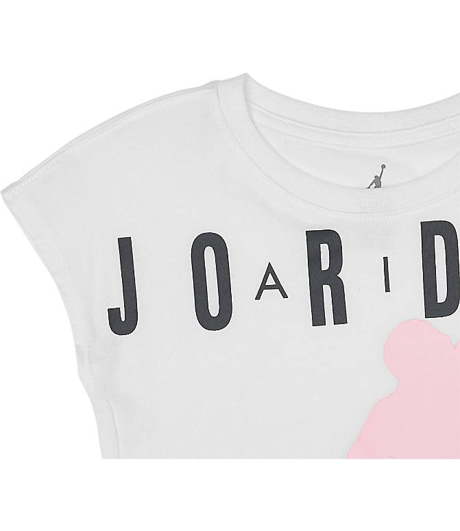 Product 3 view of Girls' Jordan Air T-Shirt in White/Pink