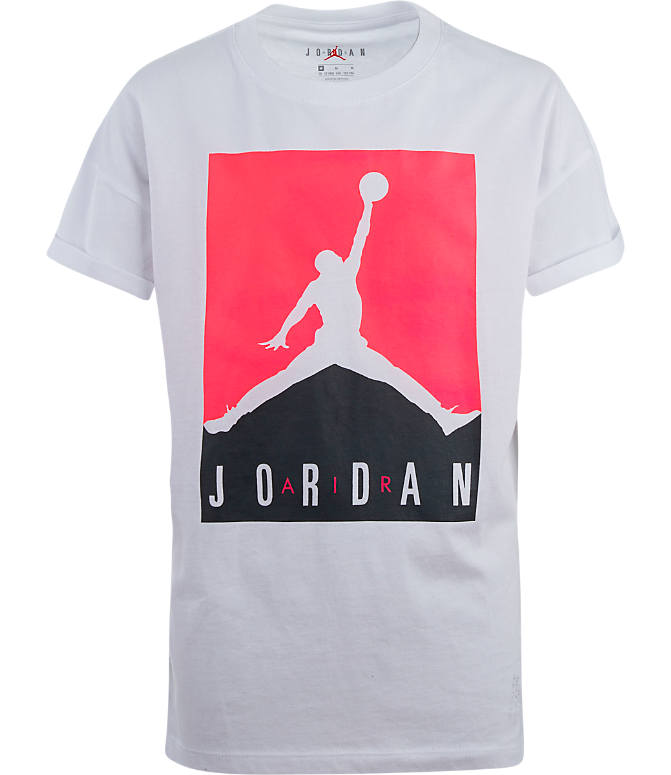 Front view of Girls' Jordan Glitch T-Shirt in White