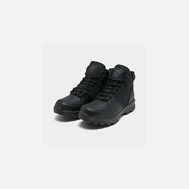 Three Quarter view of Men's Nike Manoa Boots in Black/Black