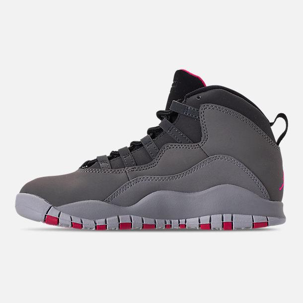 bcbe87fbeeb Left view of Girls' Little Kids' Jordan Retro 10 Basketball Shoes in Dark  Smoke
