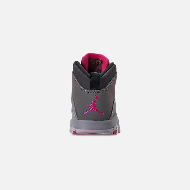 ed976b67ed7 Back view of Girls' Little Kids' Jordan Retro 10 Basketball Shoes in Dark  Smoke