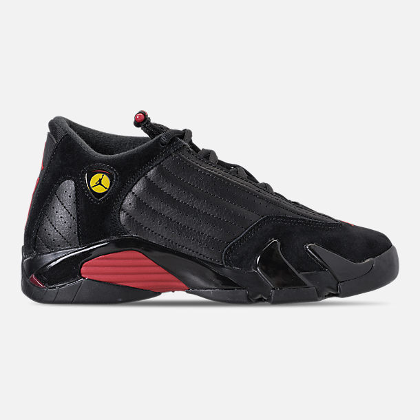 Right view of Kids' Grade School Air Jordan Retro 14 Basketball Shoes in Black/Varsity Red/Black