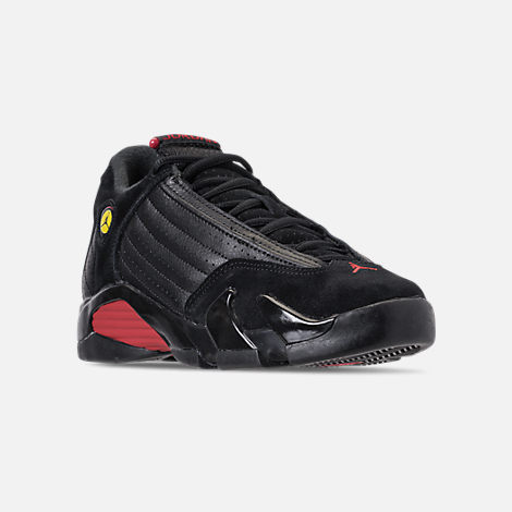 Three Quarter view of Kids' Grade School Air Jordan Retro 14 Basketball Shoes in Black/Varsity Red/Black