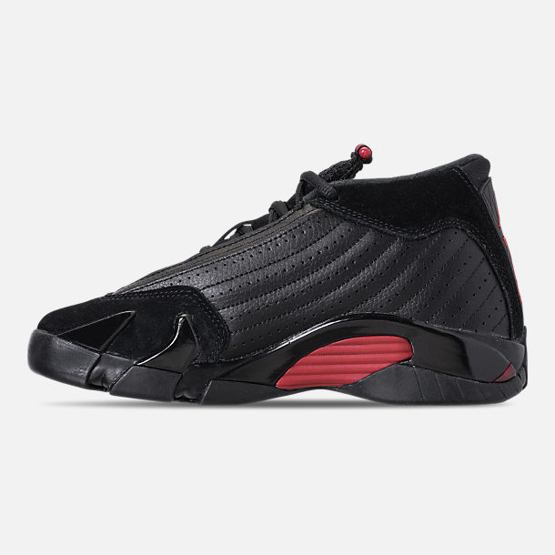 Left view of Kids' Grade School Air Jordan Retro 14 Basketball Shoes in Black/Varsity Red/Black