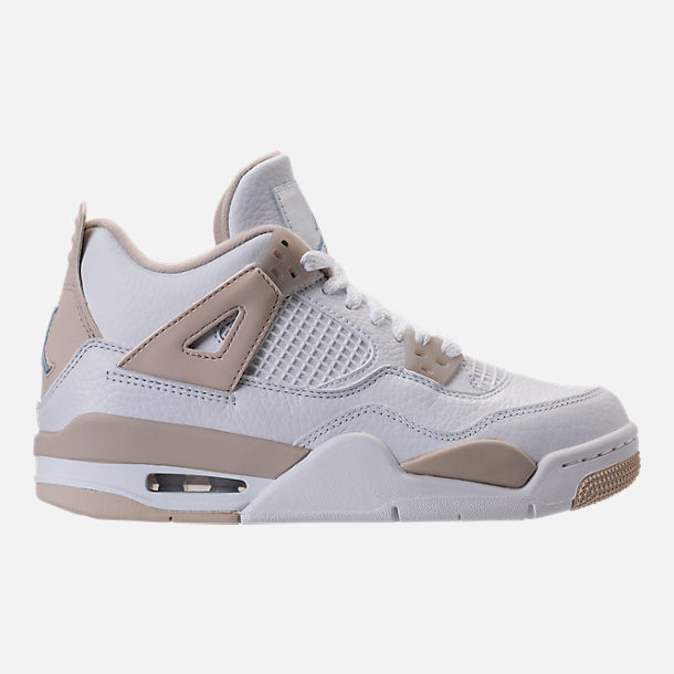 Right view of Kids' Grade School Air Jordan Retro 4 (3.5y-9.5y) Basketball Shoes in White/Boarder Blue/Light Sand