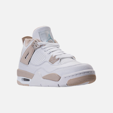 Three Quarter view of Kids' Grade School Air Jordan Retro 4 (3.5y-9.5y) Basketball Shoes in White/Boarder Blue/Light Sand