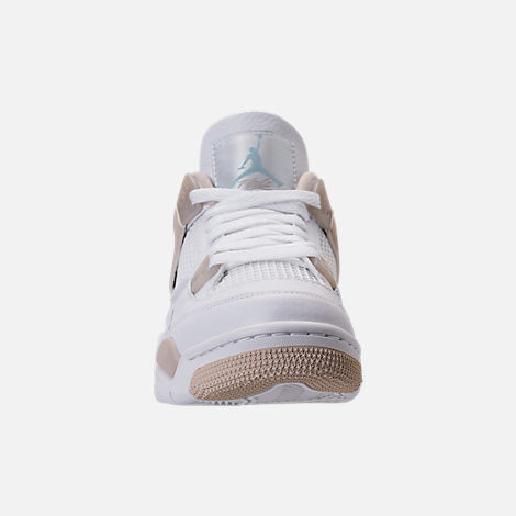Front view of Kids' Grade School Air Jordan Retro 4 (3.5y-9.5y) Basketball Shoes in White/Boarder Blue/Light Sand