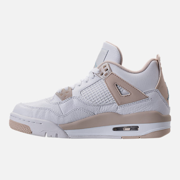 Left view of Kids' Grade School Air Jordan Retro 4 (3.5y-9.5y) Basketball Shoes in White/Boarder Blue/Light Sand