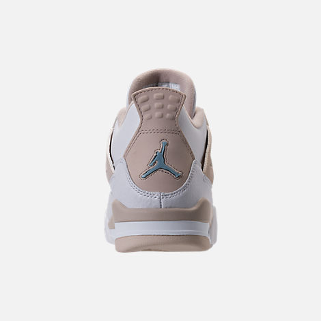 Back view of Kids' Grade School Air Jordan Retro 4 (3.5y-9.5y) Basketball Shoes in White/Boarder Blue/Light Sand