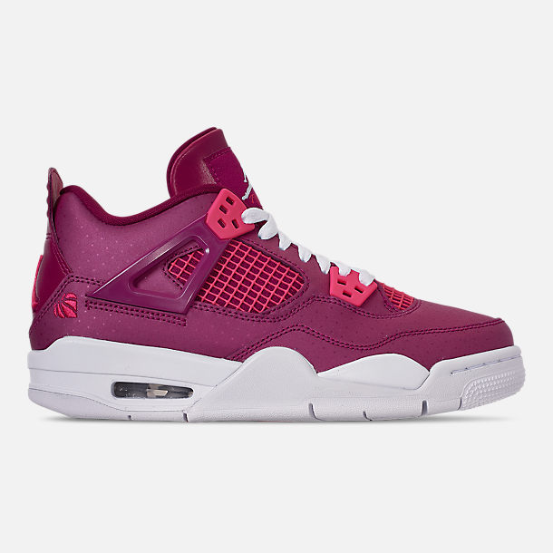 Right view of Girls' Big Kids' Air Jordan Retro 4 Basketball Shoes in True Berry/Rush Pink/White
