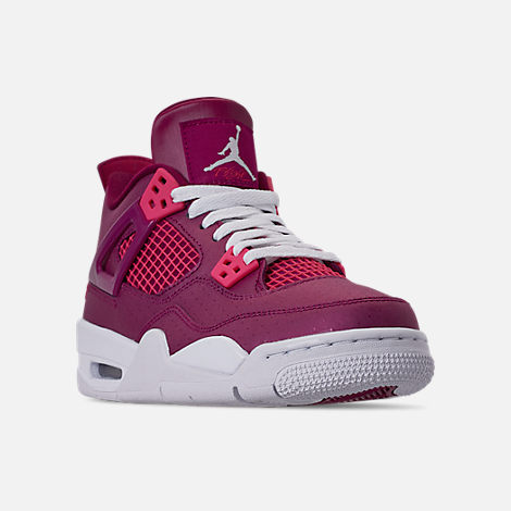 Three Quarter view of Girls' Big Kids' Air Jordan Retro 4 Basketball Shoes in True Berry/Rush Pink/White