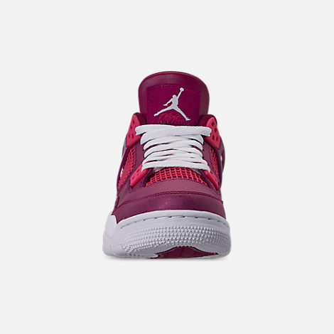Front view of Girls' Big Kids' Air Jordan Retro 4 Basketball Shoes in True Berry/Rush Pink/White