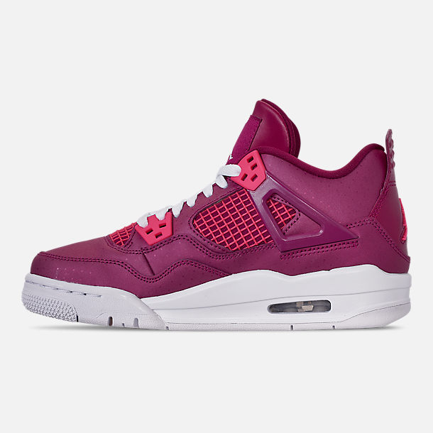 Left view of Girls' Big Kids' Air Jordan Retro 4 Basketball Shoes in True Berry/Rush Pink/White
