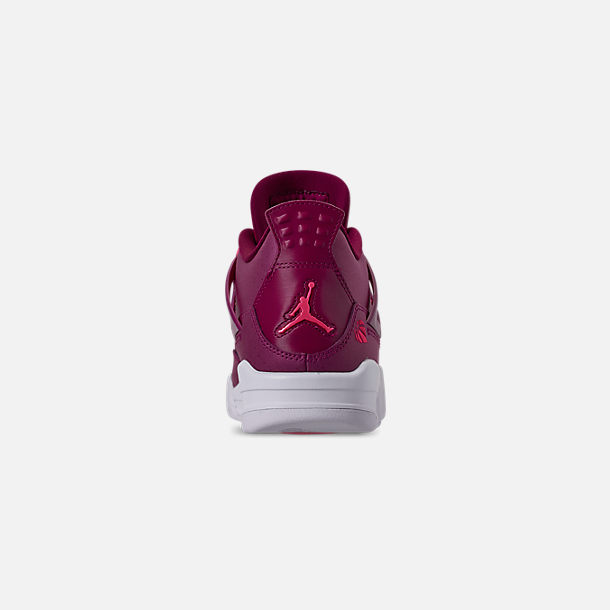 Back view of Girls' Big Kids' Air Jordan Retro 4 Basketball Shoes in True Berry/Rush Pink/White